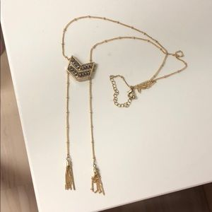 Lariat necklace with gold beads